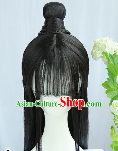 Traditional Chinese Cosplay Jin Dynasty Nobility Lady Wigs Sheath Ancient Flying Apsaras Chignon for Women