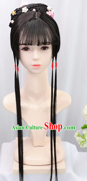 Traditional Chinese Cosplay Ming Dynasty Court Lady Lin Daiyu Wigs Sheath Ancient Flying Apsaras Chignon for Women