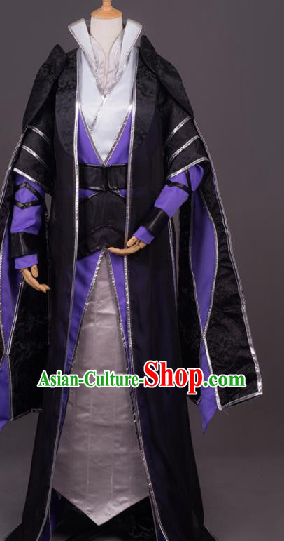 Traditional Chinese Cosplay Crown Prince Black Costumes Ancient Swordsman Hanfu Clothing for Men