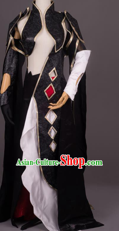 Traditional Chinese Cosplay Female Swordsman Black Dress Ancient Drama Costumes for Women