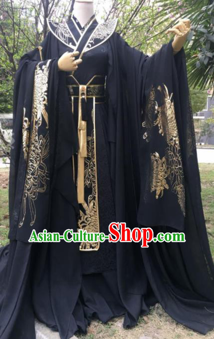 Traditional Chinese Cosplay King Black Costumes Ancient Swordsman Hanfu Clothing for Men