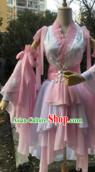 Traditional Chinese Cosplay Female Swordsman Pink Short Dress Ancient Drama Fairy Costumes for Women