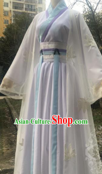 Traditional Chinese Cosplay Female Swordsman Bai Suzhen White Dress Ancient Drama Fairy Costumes for Women