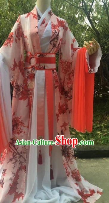 Traditional Chinese Cosplay Prince Printing Maple Leaf Costumes Ancient Swordsman Hanfu Clothing for Men