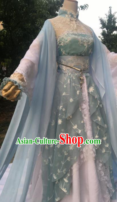 Traditional Chinese Cosplay Female Swordsman Jun Fu Blue Dress Ancient Drama Fairy Princess Costumes for Women