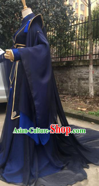 Traditional Chinese Cosplay Prince Navy Costumes Ancient Swordsman Hanfu Clothing for Men