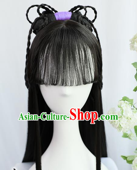 Traditional Chinese Cosplay Ming Dynasty Maidservants Wigs Sheath Ancient Nobility Lady Chignon for Women