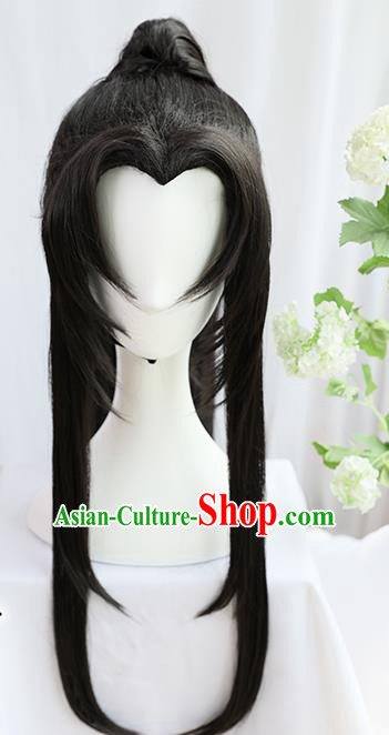 Traditional Chinese Cosplay Taoist Priest Jin Ling Wigs Sheath Ancient Young Swordsman Chignon for Men