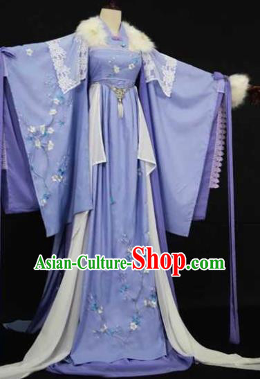 Traditional Chinese Cosplay Court Queen Blue Dress Ancient Drama Fairy Princess Costumes for Women
