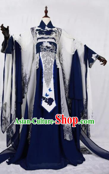 Traditional Chinese Cosplay Court Queen Royalblue Dress Ancient Drama Fairy Princess Costumes for Women