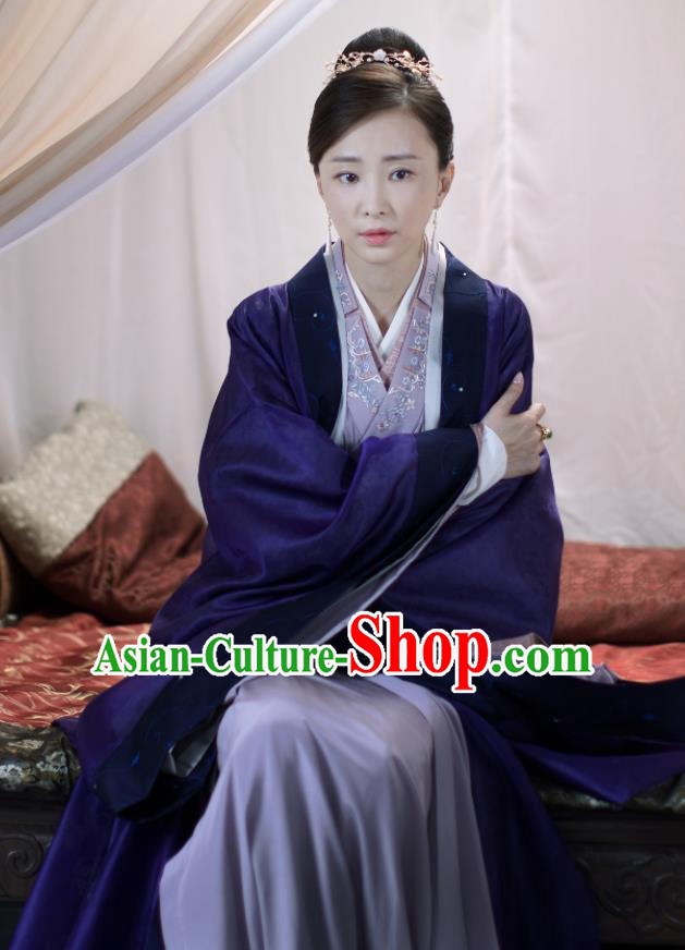 Chinese Ancient Nobility Countess Purple Dress Drama Love and Destiny Swordsman Yu Li Costumes and Headpiece for Women