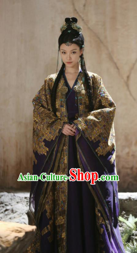 Chinese Ancient Flowers Goddess Dress Drama Love and Destiny Princess Ling Xi Ni Ni Costumes and Headpiece for Women