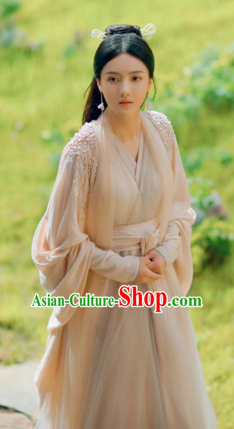 Chinese Ancient Goddess Pink Dress Drama Love and Destiny Princess Qing Yao Zhang Zhixi Costumes and Headpiece for Women
