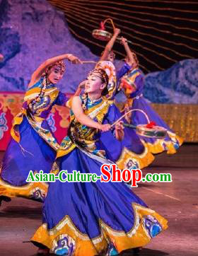 Chinese Happiness On The Way Zang Nationality Dance Purple Dress Stage Performance Costume and Headpiece for Women