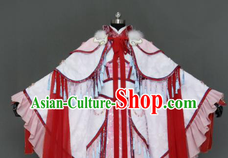 Traditional Chinese Cosplay Goddess Queen Pink Dress Ancient Drama Female Swordsman Costumes for Women