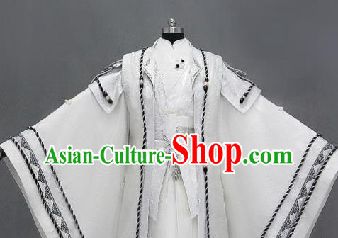 Chinese Cosplay Royal Highness White Embroidered Costumes Ancient Swordsman Clothing for Men