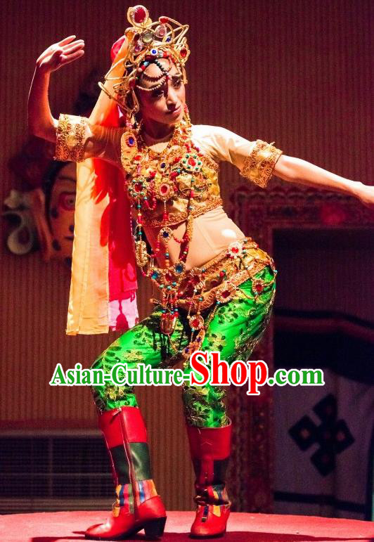 Chinese Happiness On The Way Indian Nationality Dance Dress Stage Performance Costume and Headpiece for Women