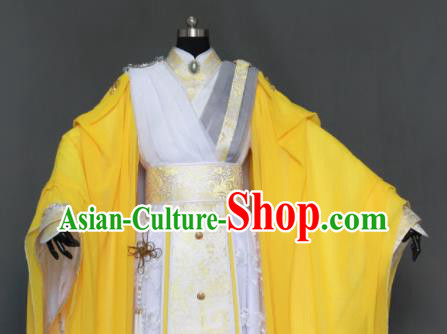 Customize Chinese Traditional Cosplay Taoist King Yellow Costumes Ancient Swordsman Clothing for Men