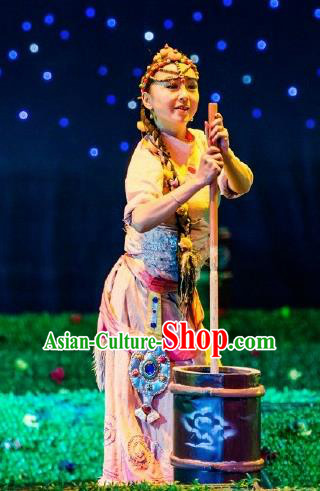 Chinese Happiness On The Way Zang Nationality Female Dance Dress Stage Performance Costume and Headpiece for Women