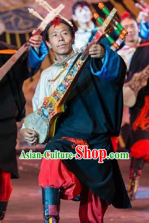 Chinese Happiness On The Way Zang Nationality Black Clothing Stage Performance Dance Costume for Men