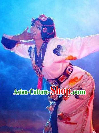 Chinese Happiness On The Way Zang Nationality Dance White Dress Stage Performance Costume and Headpiece for Women