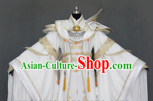 Customize Chinese Traditional Cosplay Taoist King White Costumes Ancient Swordsman Clothing for Men