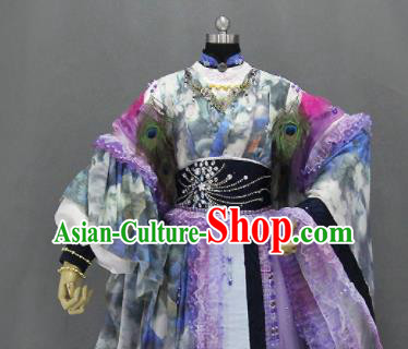 Traditional Chinese Cosplay Goddess Princess Printing Purple Dress Ancient Drama Female Swordsman Costumes for Women