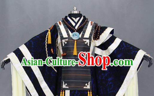Customize Chinese Traditional Cosplay Taoist Priest Navy Costumes Ancient Swordsman Clothing for Men