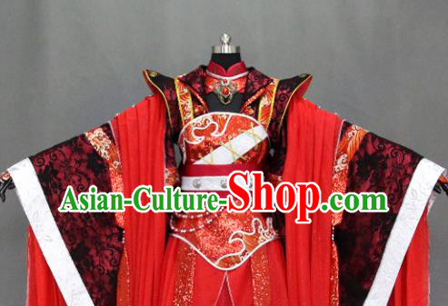 Traditional Chinese Cosplay Fairy Queen Red Dress Ancient Drama Female Swordsman Costumes for Women