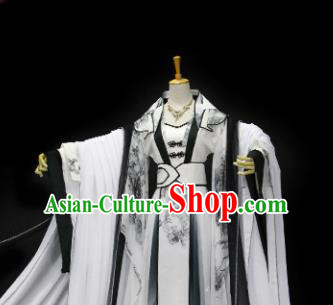 Traditional Chinese Cosplay Fairy Queen Ink Painting Dress Ancient Drama Female Swordsman Costumes for Women