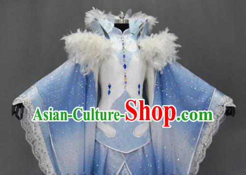 Traditional Chinese Cosplay Goddess Princess Blue Dress Ancient Drama Female Swordsman Costumes for Women