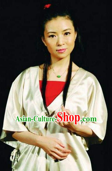 Chinese I Love Taohua Classical Dance Dress Stage Performance Costume and Headpiece for Women