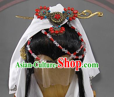 Traditional Chinese Ancient Taoist Nun Wigs and Hairpins Cosplay Female Swordsman Hair Accessories Complete Set for Women