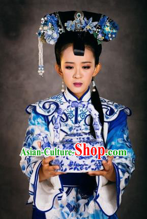 Chinese The Burning Of The Imperial Palace Qing Dynasty Court Lady Dance Dress Stage Performance Costume and Headpiece for Women