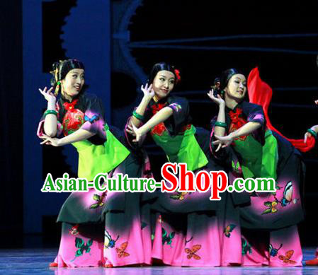 Chinese Female Embroider Folk Dance Fan Dance Dress Stage Performance Costume and Headpiece for Women