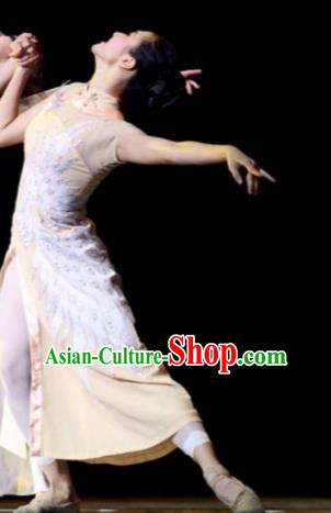 Chinese Female Embroider Classical Dance Beige Dress Stage Performance Costume and Headpiece for Women