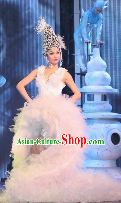 Chinese Night Of West Lake Modern Dance White Dress Stage Performance Costume and Headpiece for Women