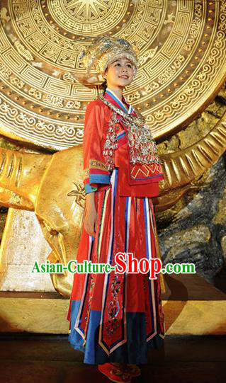 Chinese Ayiduo Miao Nationality Dance Red Dress Stage Performance Costume and Headpiece for Women