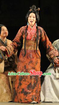 Chinese Drama Fu Sheng Ancient Qin Dynasty Palace Lady Dress Stage Performance Dance Costume and Headpiece for Women