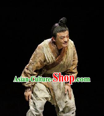 Chinese Drama Fu Sheng Ancient Qin Dynasty Civilian Clothing Stage Performance Dance Costume for Men