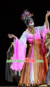 Chinese Drama Prince of Lanling Ancient Court Lady Dress Stage Performance Dance Costume and Headpiece for Women