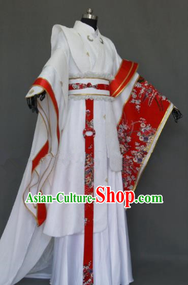 Customize Chinese Traditional Cosplay Nobility Childe Prince White Costumes Ancient Swordsman Clothing for Men
