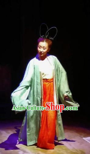 Chinese Drama Huating Song of Song Dynasty Classical Dance Dress Stage Performance Dance Costume and Headpiece for Women