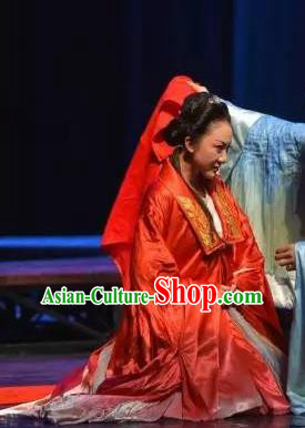 Chinese The Legend of Wang Yangming Ancient Wedding Red Dress Stage Performance Dance Costume and Headpiece for Women