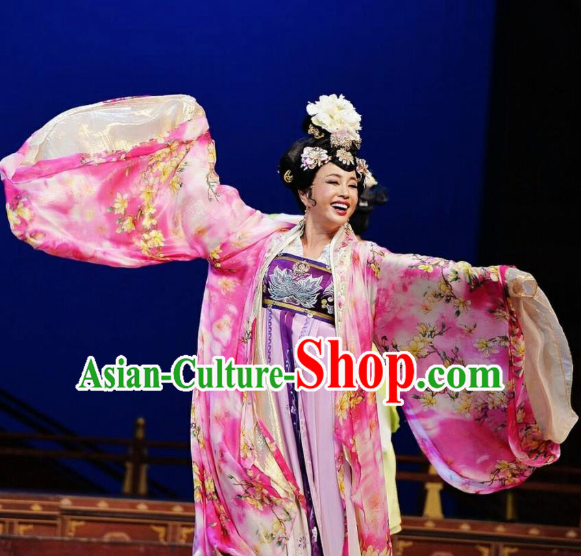 The Empress of China Ancient Tang Dynasty Imperial Consort Dress Stage Performance Dance Costume and Headpiece for Women