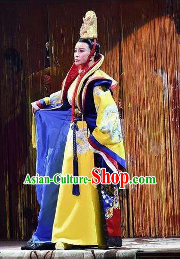The Empress of China Ancient Tang Dynasty Royal Queen Golden Dress Stage Performance Dance Costume and Headpiece for Women