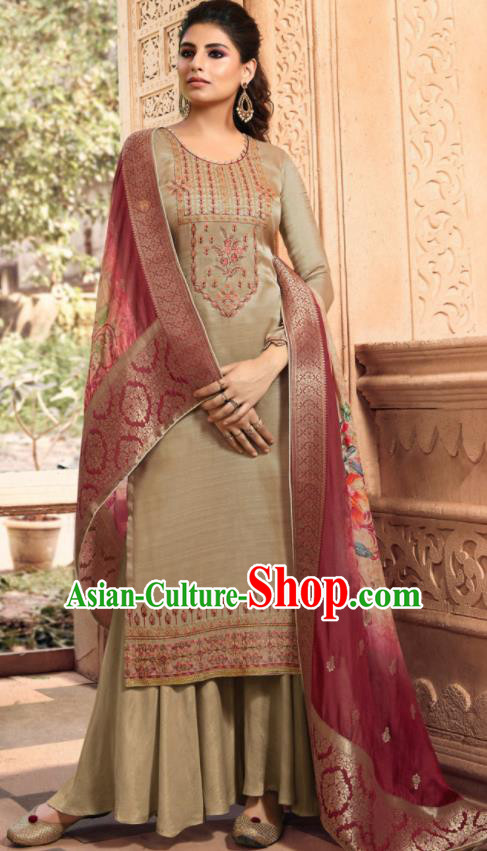 Asian Indian Punjabis Bride Embroidered Khaki Satin Blouse and Pants India Traditional Lehenga Choli Costumes Complete Set for Women