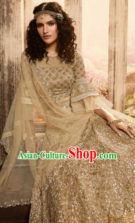Asian Indian Bollywood Lehenga Light Golden Embroidered Dress India Traditional Costumes for Women
