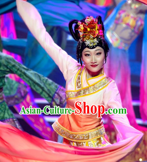 Chinese Phenix Dance In The Sky Classical Dance Dress Stage Performance Costume and Headpiece for Women