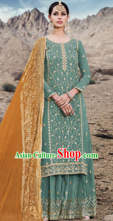 Asian Indian Punjabis Embroidered Green Georgette Dress India Traditional Lehenga Choli Costumes Complete Set for Women